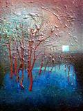 Krajina se stromem, 1986, 58x42 cm, Olej