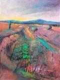 KRAJINA NA ÚŠTĚCKU,2018, 75 x 55 cm,OLEJ